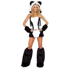 68aaf090d9 SEXY PANDA HALLOWEEN COSTUME - This sexy panda style costume includes faux  fur corset with lace-up back and white furry panel and matching the  black-white ...