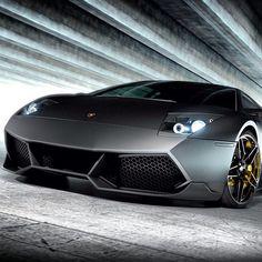 Matte Black Lamborghini Murcielago #supercar #v12