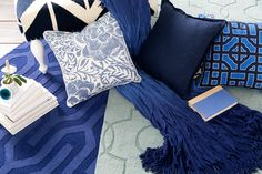 Surya accessories in complementary shades of blue create a soothing yet bold living space.
