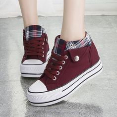 Fashion Increased Canvas Lace Up Plaid Sneakers from Shoes P.- Fashion Increased Canvas Lace Up Plaid Sneakers from Shoes Party - Sneakers Mode, Sneakers Fashion, Fashion Shoes, Shoes Sneakers, Women's Shoes, Girls Sneakers, Fall Shoes, Shoes Men, Cute Shoes