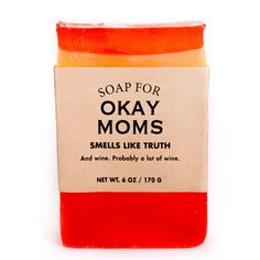 Smells like truth. And wine. Probably a lot of wine. Pairs well with nap time. Is also tired of perfect moms. Your kids love you anyway. Snarky, sarcastic, funny and true bath products for the rest of us. Sippy Cup Wine scent. Net Weight: 6 oz. For adult use only. Note: Soaps are handmade–so no two soaps are identical. From Whiskey River Soap Co.