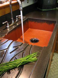 Concrete Sink, Concrete Kitchen, Concrete Countertops, Custom Countertops, Stained Concrete, Concrete Floors, Kitchen And Bath, New Kitchen, Kitchen Decor