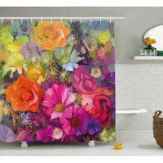 Colorful Shower Curtain, Flower Shower Curtain, Floral Shower Curtains, Bathroom Shower Curtains, Bathroom Sets, Bathrooms, Fabric Painting, Paint Fabric, Lavender Bathroom