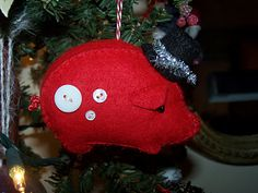 Felt Pig Christmas ornament