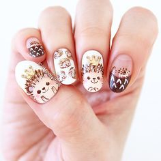 """2,190 Likes, 161 Comments - Minnie (@nailbees) on Instagram: """"Hedgehog nail art I used stamping plate #BM715 from @bundlemonster for my ring finger and crown…"""""""