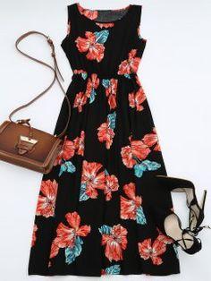 High Waisted Sleeveless Floral Maxi Dress - Black S