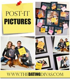 Make your mans day by posting sweet post-it notes on all the pictures of him in the house!  What a welcoming way to come home! www.TheDatingDivas.com #quickandeasy #lovenotes #quickandeasyideas