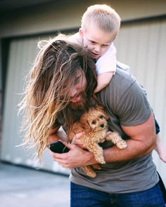Brock O'Hurn ·  This is what happens when you tell a 3 year old it's your turn to play with the puppy.