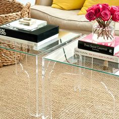 LUCITE TABLES WITH MOROCCAN MOTIF $850.00-$875.00