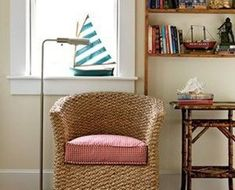 15 Easy and Inexpensive Room Upgrades from Coastal Living ~ We show you how to use coastal accessories to achieve picture-perfect seaside style without going through a total home decor overhaul. ~ Bring the Wicker Indoors Indoor Wicker Furniture, Driftwood Furniture, Living Furniture, Coastal Style, Coastal Living, Coastal Decor, Seaside Style, Bamboo Dining Chairs, Bamboo Table
