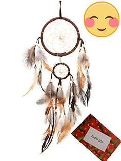#BSLINO® #Brown Handmade Beaded Dream Catcher Circular Net With feathers For Car Kids Bed Room Wall Hanging Decoration Decor Ornament Craft + Gift bag + Gift Car...