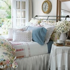 Ralph Lauren Home. Love this pastel bedroom. over view farm house interior ideas Manhattan Studio - Beautiful tile design and polished und. Style Cottage, Cottage Living, Cottage Bedrooms, Country Bedrooms, Cozy Cottage, Country Cottage Bedroom, Living Room, Country Bedding, Cottage Farmhouse