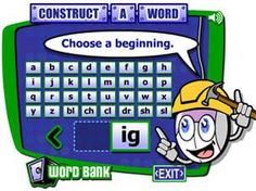 Read Write Think: Student Interactive: Construct-a-Word ***nice for teaching word families Word Study, Word Work, Reading Websites For Kids, The Computer, Cvc Words, Learning Letters, Kindergarten Literacy, Educational Technology, Technology Websites