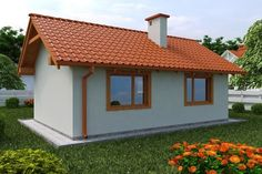 DOM.PL™ - Projekt domu KP G134 - Budynek letniskowy CE - DOM KT2-76 - gotowy koszt budowy Village House Design, Village Houses, Foreclosed Properties, Cheap Houses, Small House Design, Affordable Housing, Home Design Plans, Home Fashion, Interior And Exterior