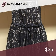 Neiman Marcus Strapless Dress NWT Black lace over beige. Gorgeous to wear day or night Neiman Marcus Dresses Strapless