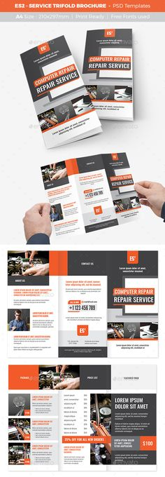 Service Trifold Brochure Template PSD. Download here: https://graphicriver.net/item/es2-service-trifold-brochure/17134354?ref=ksioks