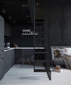Un mini loft gris en Russie You may have great decorating ideas. Estilo Industrial Chic, Small Apartments, Small Spaces, Loft Spaces, Interior Design Kitchen, Interior Decorating, Interior Modern, Decorating Ideas, Decor Ideas