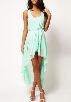 So Pretty! Mint Green Irregular Hem Swallowtail Sleeveless Chiffon Dress #mint #green #pretty #summer #fashion