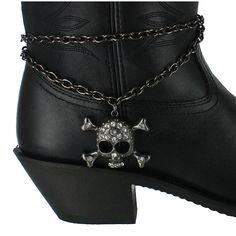 Shyanne® Women's Rhinestone Skull Boot Bracelet