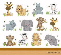 SAFARI ANIMALS DECAL Decor Kids Wall Art Stickers