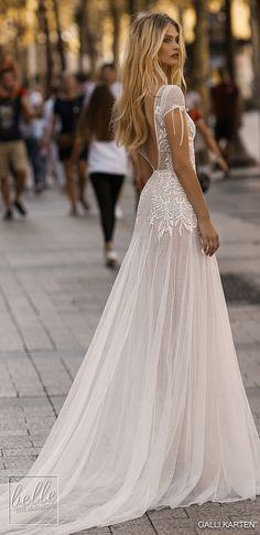 more gorgeous wedding gowns by clicking on the photo Gali Karten 2019 Wedding Dresses - Paris Bridal Collection Boho Wedding Dress, Dream Wedding Dresses, Bridal Dresses, Dresses Dresses, Boho Gown, Prettiest Wedding Dress, Beaded Wedding Dresses, Dresses For Wedding Guests, Parisian Wedding Dress