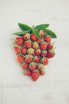 Strawberry composed of small strawberries. by CACTUS Creative Studio - Stocksy United Creative Pictures, Food Pictures, Strawberry Pictures, Strawberry Fields Forever, Strawberry Patch, Food Photography Tips, Aesthetic Food, Whimsical Art, Creative Studio