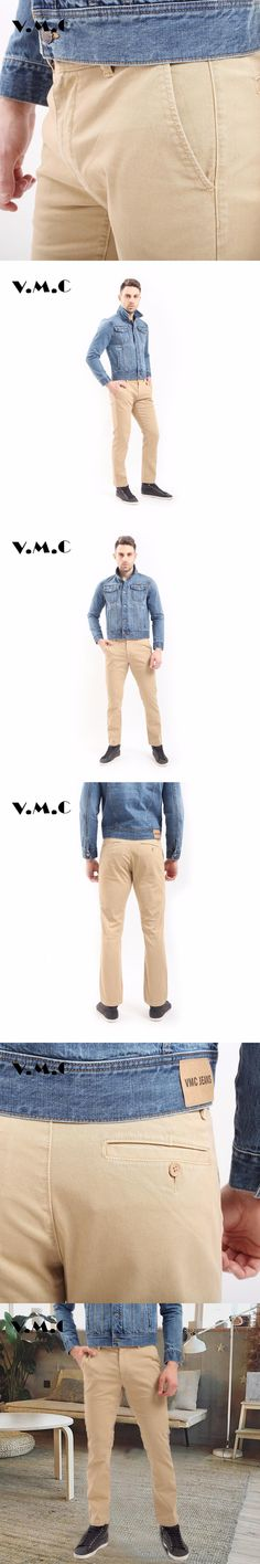Men's Pant Mens Trousers 2017 New Spring Summer Male Straight Leg Bussion Men Pants cream-coloured,Khaki and Black  Jeans Mens.