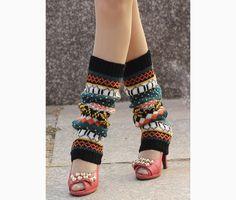 Colorful Crochet Flower Long Leg Warmers