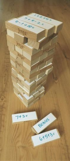 Jenga Sums - Teacher's Pet – Ideas Inspiration for Early Years (EYFS), Key Stage 1 and Key Stage 2 Primary Teaching, Primary Maths, Teaching Math, Primary School, Teaching Ideas, Year 1 Maths, Early Years Maths, Fun Math, Math Activities