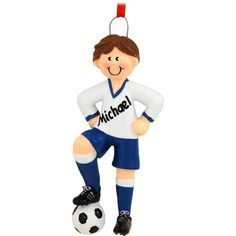 Personalized Brunette Soccer Boy Ornament $12.99