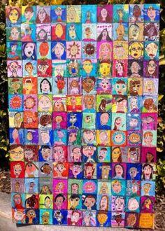 Kinder Self Portraits on Canvas