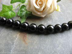 4 Onyx Perlen schwarz, poliert, 10mm, Halbedelstein, Schmuck, Edelsteinperlen