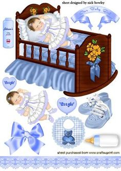 SWEET BABY GIRL IN PRETTY BLUE WITH SCRAPBOOK ELEMENTS on Craftsuprint - Add To Basket!