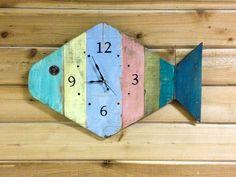 Painted Fish Beach Wall Clock  24  tropical wall by BeachWallDecor