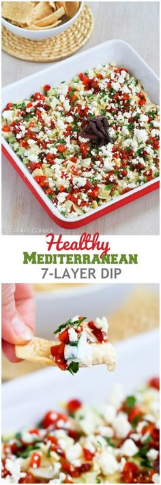 Healthy Mediterranean 7-Layer Dip Recipe will disappear in minutes at your next party!...49 calories and 2 Weight Watcher SmartPoints #vegetarian
