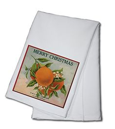 Merry Christmas Orange Branch  Los Angeles California  Citrus Crate Label 100 Cotton Kitchen Towel * You can find out more details at the link of the image.
