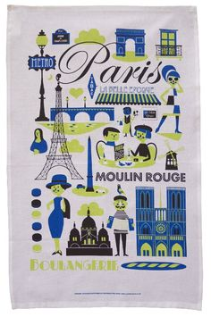 Paris tea towel. Fab illustration.