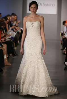 "Brides: Ines Di Santo - Spring 2014. ""Cannes"" giupure lace wedding dress with taffeta underlay, deep sweetheart neckline and illusion back, featuring a subtle sweep train, Ines Di Santo"