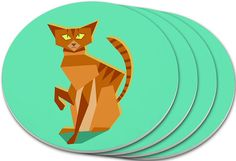 """Amazon.com: Custom & Cool {4"""" Inches} Set Pack Of 4 Round Circle """"Grip Texture"""" Drink Cup Coasters Made of Plastic w/ Cork Bottom w/ Ginger Siamese Cat Sitting Down Design [Colorful Teal, Orange & Brown]: Home & Kitchen"""