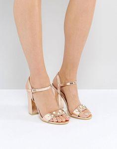 b50fc7e82ad Public Desire Oklahoma Rose Gold Pearl Detail Heeled Sandals