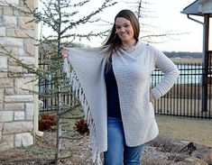 This blanket style wrap cardigan is so chic! It features a fantastic drape, a classy button closure, and a slimming asymmetrical line.
