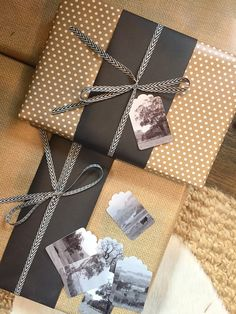 kraft paper with black and landscape image gift tags