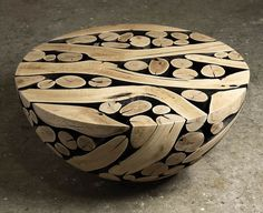 Coffee Table by Jaehyo Lee with Cross Sectional Logs