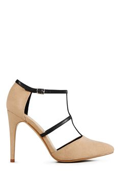 Join the smart set with Kayline by JustFab. This polished and professional pump features a pretty almond toe, a moderate heel and chic faux leather double t-strap with an adjustable buckle at the ankle. Faux suede.