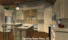 Ample counter and cabinet space in this 2-bedroom + study, 2-bath craftsman style house plan make it suitable for downsizing comfortably.