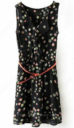 Black V-neck Sleeveless Polka Dot Tank Dress -$20.99