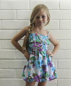 Purple Floral Summer Bubble Dress - Girls #zulily #zulilyfinds