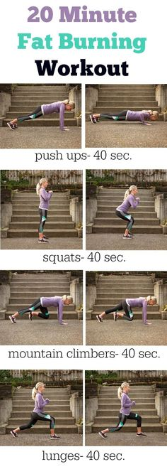 20 minute fat burning workout you can do anywhere. No equipment needed. Cardio and body weight exercises.