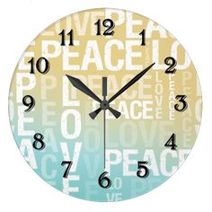 Love Peace Blue Yellow Ombre clock