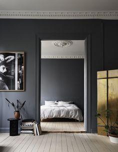 Dark drey bedroom